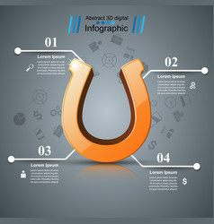 horseshoe four line - business infographic vector image