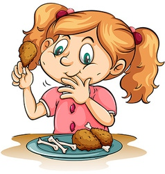 Hungry girl eating chicken vector image