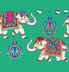 indian elephants pattern vector image