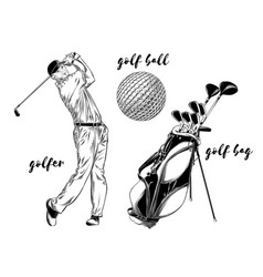 isolated golf set on white background hand-drawn vector image