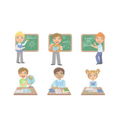 kid reading books set cute elementary school vector image