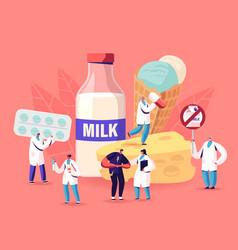 lactose intolerance concept man feel bad in vector image