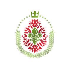 Lily flower royal emblem heraldic coat arms vector