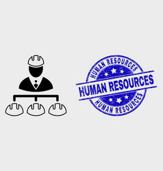 linear engineer hierarchy icon and distress vector image