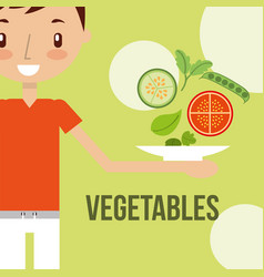 little boy with fresh vegetable healthy food vector image