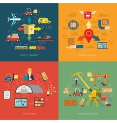 Logistic 4 flat icons square banner vector