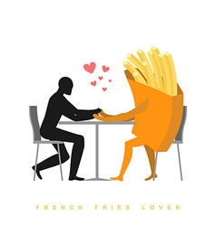 Lover french fries in cafe Man and fast food vector
