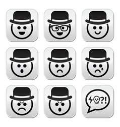 Man in hat faces buttons set vector image