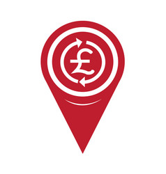 map pin pointer money pound icon gbp currency vector image