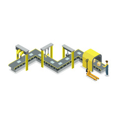 Mechanical belt conveyor isometric 3d icon vector