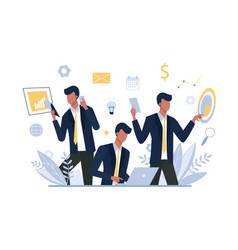 multitasking businessman office worker flat vector image