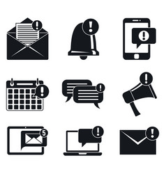 Notification message icons set simple style vector