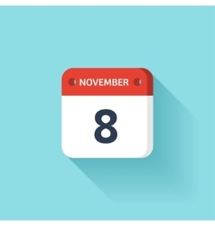 November 8 Isometric Calendar Icon With Shadow vector