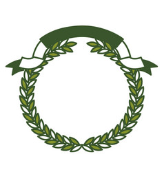 olive branch green crown and ribbon on top vector image