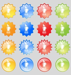 Organic natural tea icon sign Big set of 16 vector image