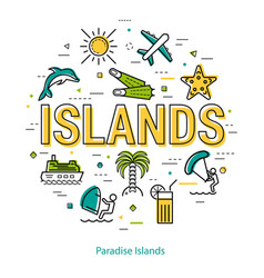 Paradise islands - round linear concept vector