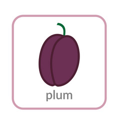 plum icon purple outline flat sign isolated vector image