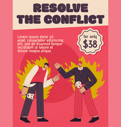 poster resolve conflict concept vector image