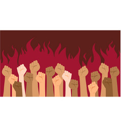 Protesters hands multiracial fists hands up vector