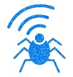 Radio Spy Bug Grainy Texture Icon vector image