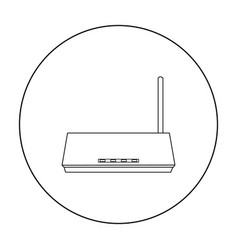 Router icon in outline style isolated on white vector