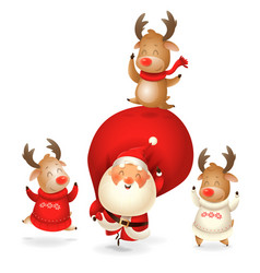santa claus and reindeer celebrate holidays - happ vector image
