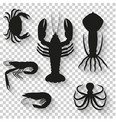 seafood icons set silhouette icons with shadow on vector image