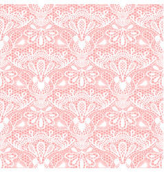 Seamless detailed lace pattern on pink background vector