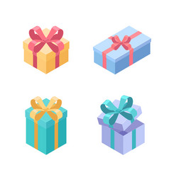 set presents - modern colorful isometric vector image