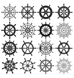 ship steering wheel silhouette collection vector image