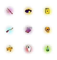 Sorcery icons set pop-art style vector image