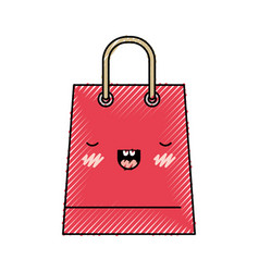 trapezoid kawaii shopping bag icon with handle in vector image