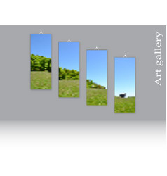 Triptych template three clean vertical canvases vector