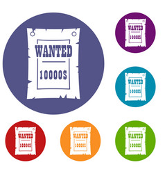 Vintage wanted poster icons set vector