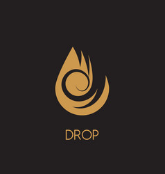 water drop gold logo design droplet logotype icon vector image