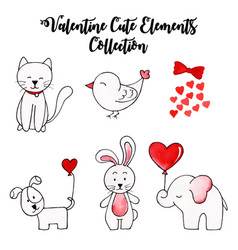 Watercolor valentine elements collection vector