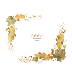 Watercolor wreath of leaves and branches vector