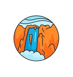 Waterfall logo badge high mountain rock waterfall vector