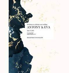 Wedding navy gold invitation cards with luxury vector