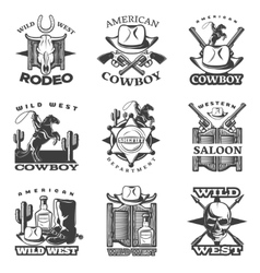 Wild West Emblem Set vector image