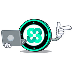 with laptop ethos coin character cartoon vector image
