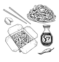 Wok drawing set isolated chinese box and vector