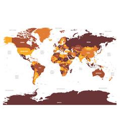 World map - brown orange hue colored on dark vector