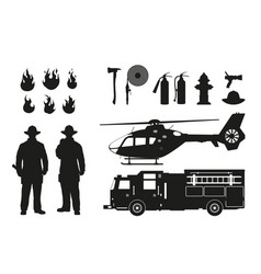 black silhouette of firefighters and equipment vector image