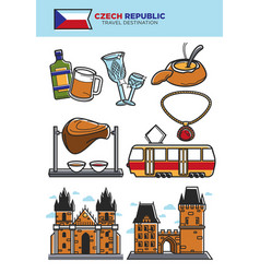 czech republic travel destination banner with vector image vector image