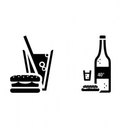 fast food and vodka signs vector image
