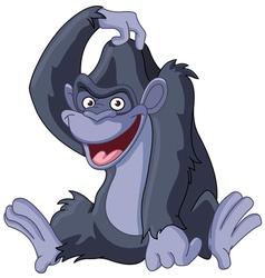 gorilla scratching head vector image