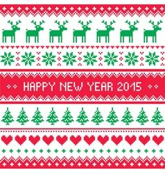 Happy New Year 2015 - Scandinavian winter pattern vector image