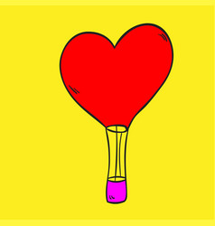 hot air balloon love on a yellow background vector image vector image