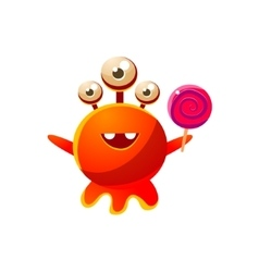Red Three-Eyed Toy Monster With Lollypop vector image
